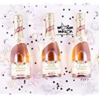 PERSONALIZED Floral Pink and Gold Will you be my Bridesmaid, Will you be my Maid of Honor mini champagne or mini wine labels, SET OF 10
