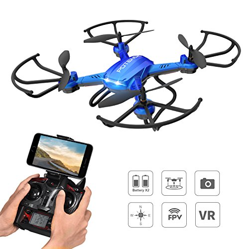 Drone with Camera, Potensic Drone F181WH WiFi FPV Quadcopter with HD Camera, Altitude Hold, and Live Video Plus Remote Control-Blue