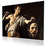 """Alonline Art - David With The Head Of Goliath Caravaggio PRINT On CANVAS (Synthetic, UNFRAMED Unmounted) 32""""x24"""" - 81x61cm Canvas For Living Room Wall Art Pictures Oil Painting Printed On Canvas"""