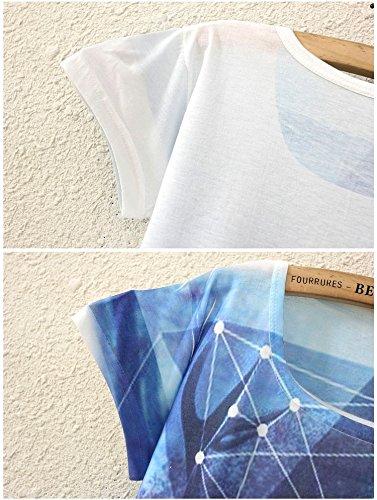 Tunica Il Maglietta Supera I Cami Donne Libero Per Stampata Sottile Ragazze Casual Abbigliamento Camicia Yichun Della Tempo 3 Blu Camicia T Uq6tPntg