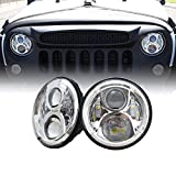 Xprite 7'' Inch Round 90W 9000 Lumens Hi/Lo Beam 15W Cree XT-E Chip LED Chrome Headlights For Jeep Wrangler JK Unlimited TJ LJ 1997 - 2016