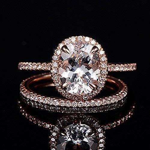 Amazon Com Topaz Engagement Ring Oval Cut Rose Gold Diamond