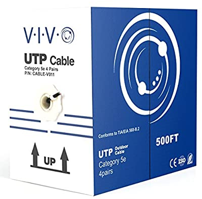 VIVO New 500 ft bulk Cat5e Ethernet Cable/Wire UTP Pull Box 500ft Cat-5e Waterproof Outdoor/Direct Burial (CABLE-V011)