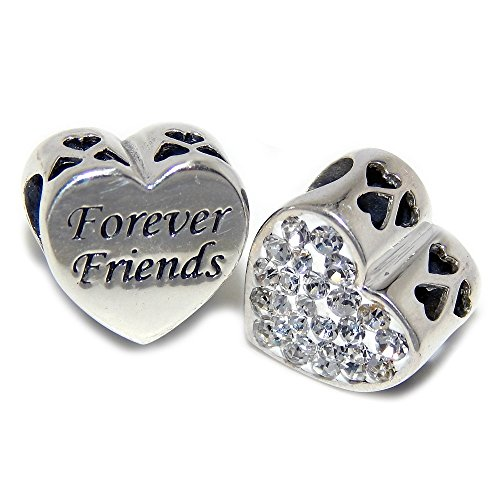 Pro Jewelry 925 Solid Sterling Silver Forever Friends/Clear Crystal Heart Charm Bead