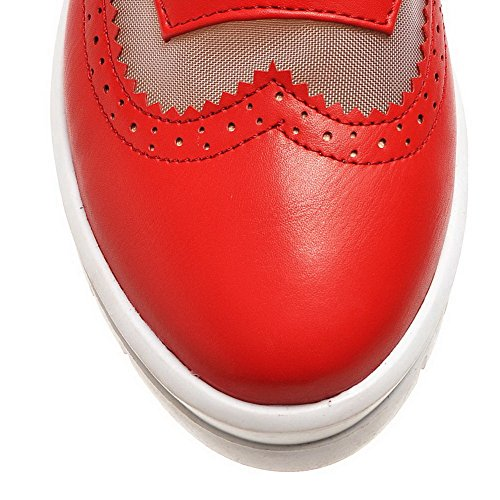 Odomolor Women's Round Closed Toe Kitten Heels Lace up Solid Pumps-Shoes Red cYJxpD