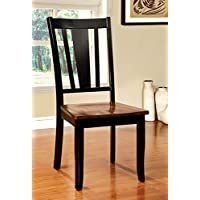 Furniture of America Macchio Transitional Dining Chair, Cherry/Black, Set of 2
