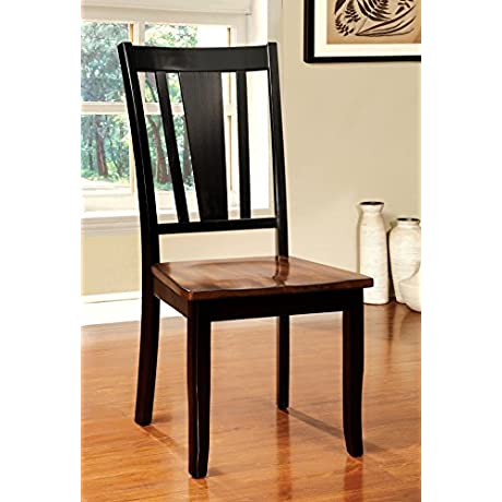 Furniture Of America Macchio Transitional Dining Chair Cherry Black Set Of 2