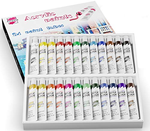 Ampela Acrylic Paint Set 24 Colors 12 ml Tubes of Acrylic Non Toxic Paints Sets Kits of Acrylic Art Craft Paint Palette for Painting for