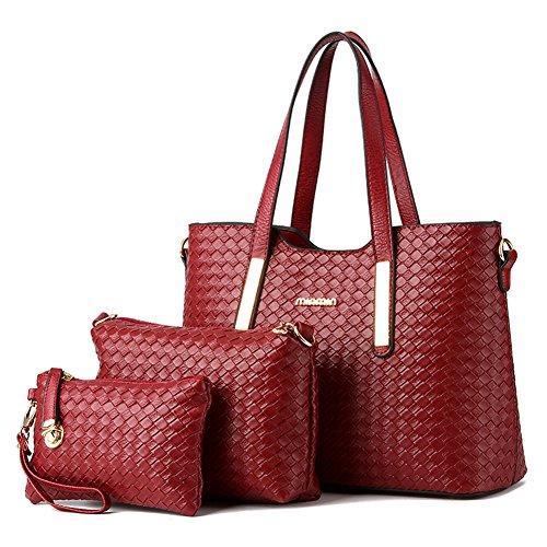 [Vincico174;Women 3 Piece Tote Bag Pu Leather Weave Handbag Shoulder Purse Bags (Wine Red)] (Sale On Purses)