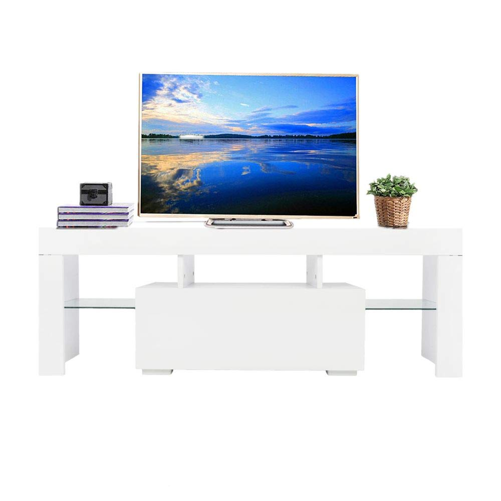 Binlin TV Stand with LED Lights, Modern LED TV Cabinet Media Console Cabinet LED Shelves with 2 Drawers for Living Room by Binlin
