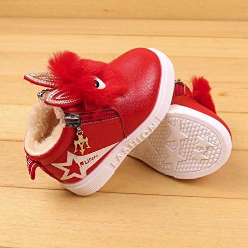 JIANGFU Kinder warme Baumwolle Stiefel Schnee Stiefel Schuhe, Kinder Mode Jungen Mädchen Sneaker Stiefel Kinder warme Baby Freizeitschuhe (Red, 27)