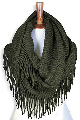 Basico Women Winter Warm Knit Infinity Scarf Tassels Soft Shawl Various Colors (G70 Army green)
