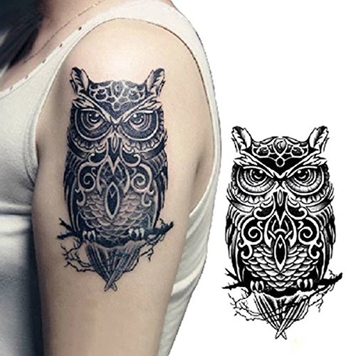 Temporary Tattoos - Temporary Owl Pattern Body Arm Water Transfer Tattoo Sticker - Owl Tattoo Sticker Waterproof Temporary Tattoos y Women Lady - Fake For - - Hunt Co Sunglasses And