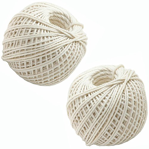 EORTA 440 FT/2 Pack Kitchen Cotton Twine String Food Safe Grade Cooking Strings White Cords Rope Rolls Turkey Meat Twine for Wrapping/Cutting/Tying Roasts, Meat Packaging, Bundling, DIY Craft