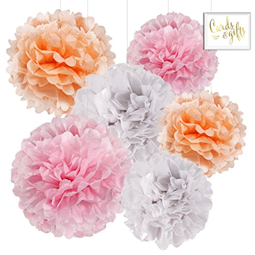 Andaz Press Hanging Tissue Paper Pom Poms Party Decor Trio Kit with Free Party Sign, Blush Pink, Peach, White, 6-Pack, For Spring Girl Baby Shower Nursery Easter Classroom Office Decorations ()