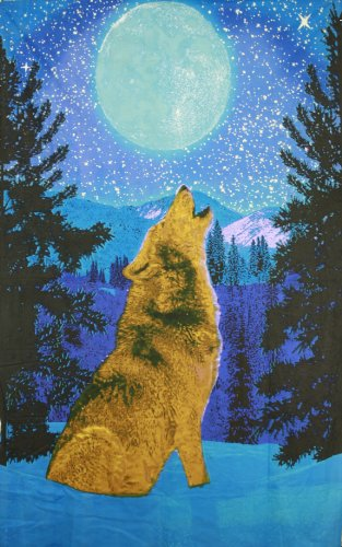 (Sunshine Joy 3D Glow in the Dark Full Moon Wolf Tapestry Wall Art Amazing 3-D Effects - Huge 60x90 Inches)