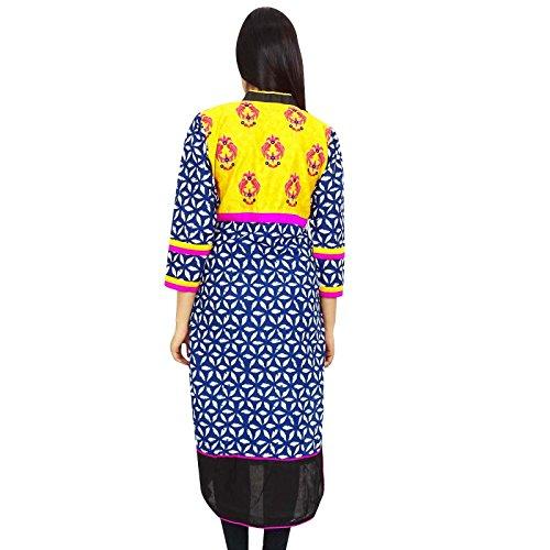 Las mujeres de algodón indio superior ocasional del desgaste del verano de vacaciones Ropa Resort Wear Blue-1