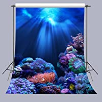 FUERMOR Backgrounds 5x7feet Blue Seabed World Backdrops For Kids Newborn Photo Shooting Props (New Material) R694