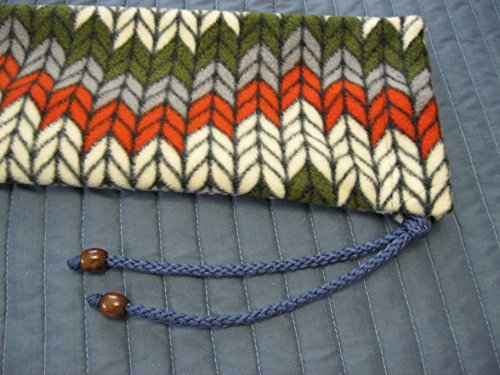 Native American Flute Bag - Fleece - handmade - braided rope and wooden beads