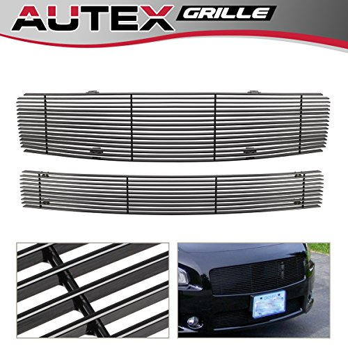 AUTEX N87774H Main Upper Grille + Lower Bumper Black Billet Grille Insert Combo Compatible with Nissan Maxima 2009 2010 2011 2012 2013 2014 Grill