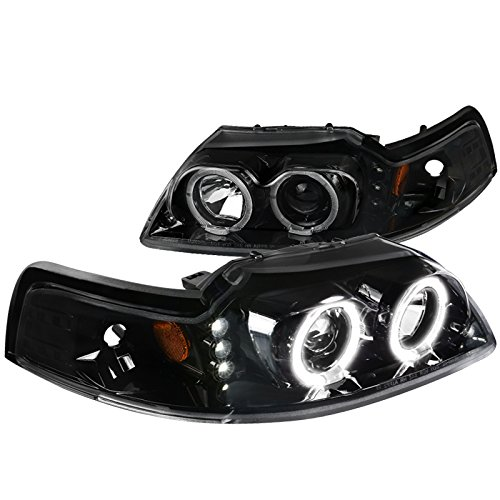 ([Jet Black] Ford Mustang Replacement LED+Dual Halo Projector Headlights Pair)