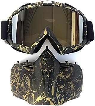 HCMAX Motorrad Schutzbrillen Brille Abnehmbare Gesichtsmaske Helm Nebelfest Winddicht Fahrradbrille zum Offroad Reiten Passen M/änner Frau