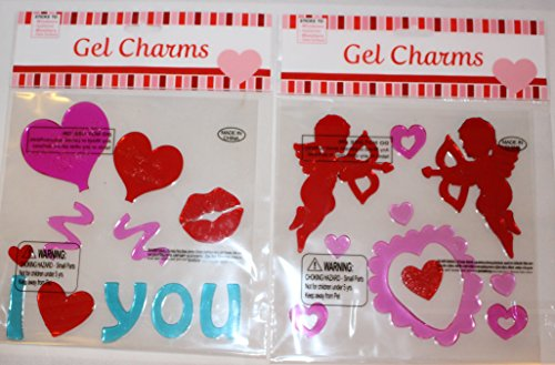 Nantucket Home Valentine's Day Cupid and Hearts Gel Window Clings, 2-Pack
