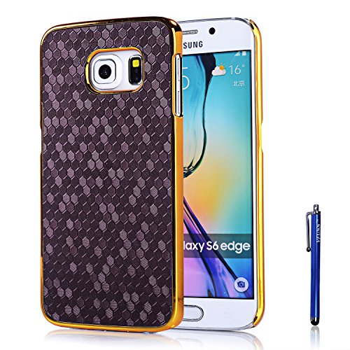S6 Edge Case,Galaxy S6 Edge Case,Vfunn Elegant Golden Plating Hard Back Case Cover for Samsung Galaxy S6 Edge Only with 1 Screen Protector 1 Blue Stylus Pen Eco-friendly Packaging (Galaxy S6 Edge) (Purple)