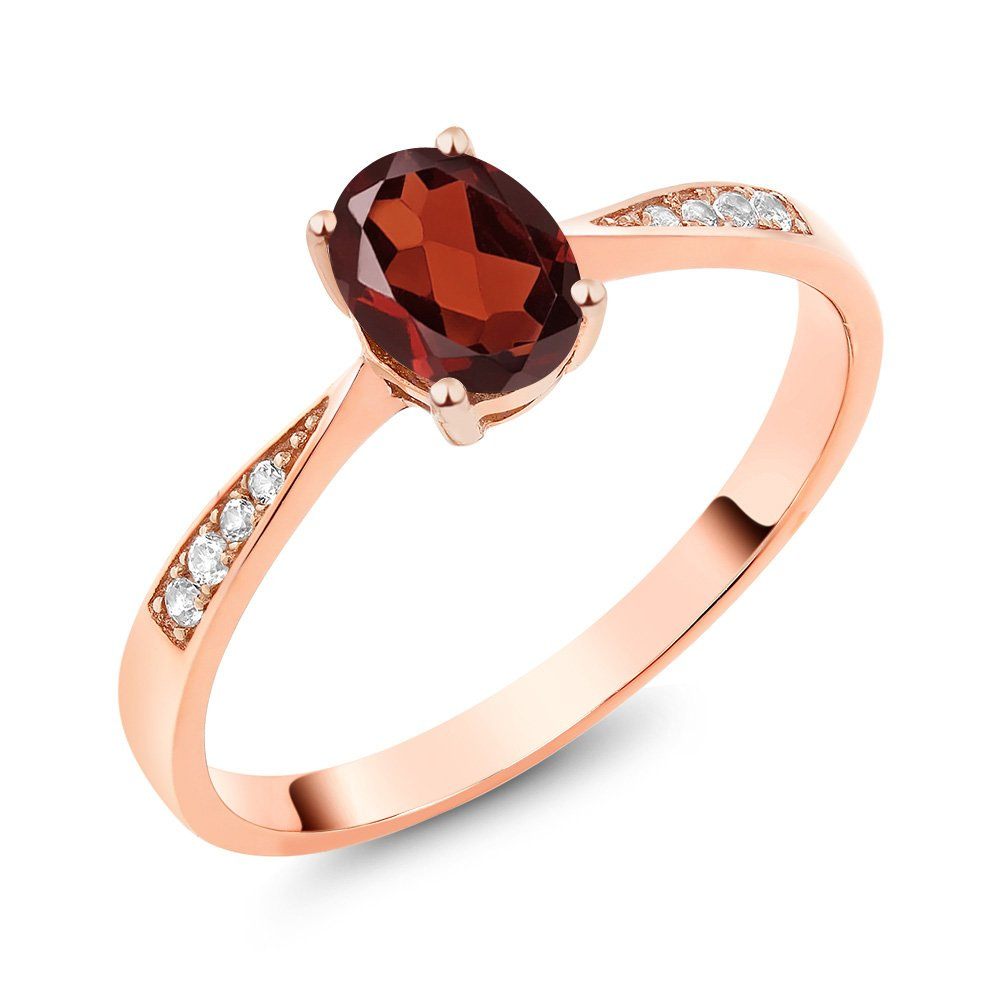 10K Rose Gold Diamond Women's Ring with 0.96 Ct Oval Red Garnet (Available in size 5, 6, 7, 8, 9)