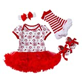 Mayunn 4-Pieces Newborn Baby Girls Cotton Christmas Printing Romper Skirt Costume Outfits Set Clothes (0M-24M)