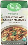 Pacific Natural Foods Organic Minestrone With Chicken Meatballs Soup, 17.6-Ounce Boxes (Pack of 12)