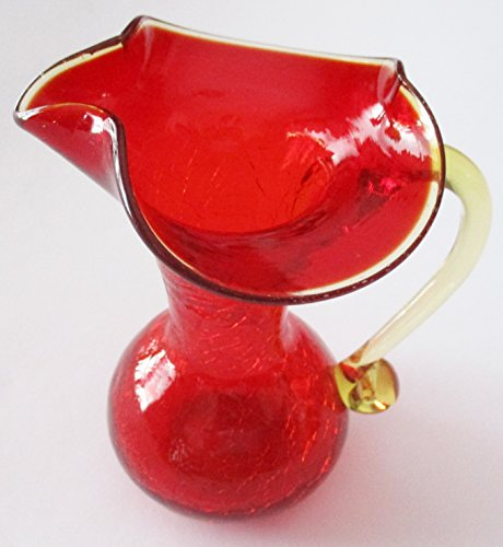 Crackled Cranberry Glass Pitcher w/ Yellow Glass Handle ... 5 1/8""