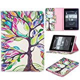 Amazon Kindle Paperwhite Case (10th Generation, 2018 Release), iYCK PU Leather Stand Flip Folio [Card Holder] Protective Wallet Case Cover for Amazon Kindle Paperwhite 4 2018 - Tree and Leaf
