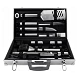 Premium Barbecue Grill Tools Set with Aluminum Storage Case For Outdoor BBQ Cooking Steaks - 21 Pieces