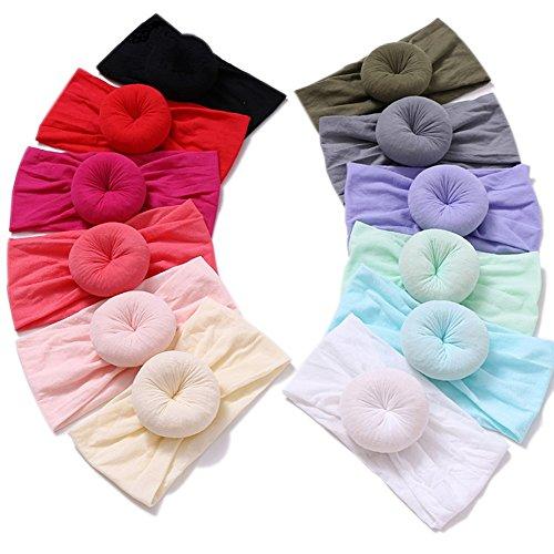 Nylon Topknot Headband Round Bun Head Wrap Soft Turban for Baby Pack of 12pcs