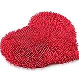 elegantstunning Red Heart Love microfiber chenille Soft Fluffy Rug Bathroom Bedroom Carpet Mat