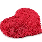 elegantstunning Red Heart Love microfiber chenille Soft Fluffy Rug Bathroom Bedroom Carpet Mat