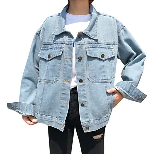 Loosebee◕‿◕ Women Oversized Denim Jacket for Women Destoryed Long Sleeve Casual Pocket Jacket Loose Coat (Clarks Womens Boots Sale Ankle)