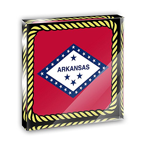 Arkansas State Flag Acrylic Office Mini Desk Plaque Ornament Paperweight ()