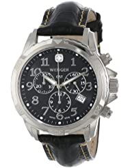 Wenger Mens 78255 GST Chrono Stainless-Steel Black Leather Band Watch