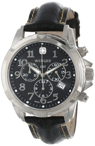 Wenger Men's 78255 GST Chrono Stainless-Steel Black Leather Band Watch