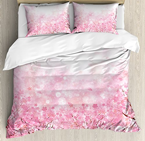 Light Pink Duvet Cover Set Queen Size by Ambesonne, Japanese Cherry Blossom Sakura Tree with Romantic Influence Asian Nature Theme, Decorative 3 Piece Bedding Set with 2 Pillow Shams, Baby (Asian Cherry Bed)