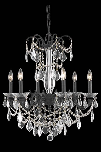 OmniLucent ARCD23DB-29118 Turin Collection Chandelier with 6 Lights and Clear Crystals 23