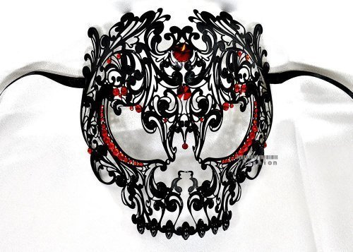 [Men Devil Skull Laser Cut Venetian Masquerade Mask with Red Rhinestones Event Party Ball Mardi Gars by] (Red Masquerade Mask)
