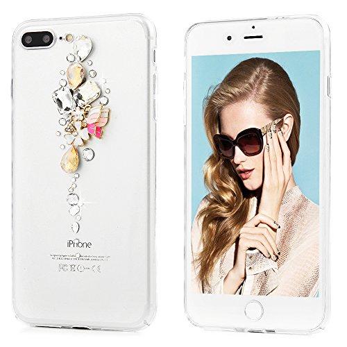 """Mavis's Diary Coque iPhone 7 Plus (5.5"""") PC Rigide Transparent Bling Strass Fleur Papillon Housse de Protection Étui Téléphone Portable Phone Case Cover+Chiffon"""