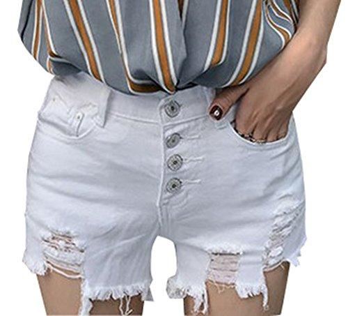 Casual Slim Strappati Denim Shorts Bianco Fit Hot Beach Estate Jeans Skinny Con Pantaloni Pantaloncini Estivi Pulsanti Strappato Corti Donna Pants 6qg0O