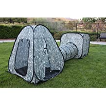 G3Elite Kids Camo Tunnel 3 Piece Play Tent, Pop Up Foldable Set With Carry/Storage Bag, Indoor/Outdoor, Boys/Girls Playset, Camouflage Base Fort (1 Year Warranty)