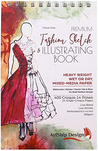 - Fashion Sketchbook 400 Figure Templates, Premium Hardcover, Heavy-Weight Multi-Media Paper (8.5x6 Travel Size)