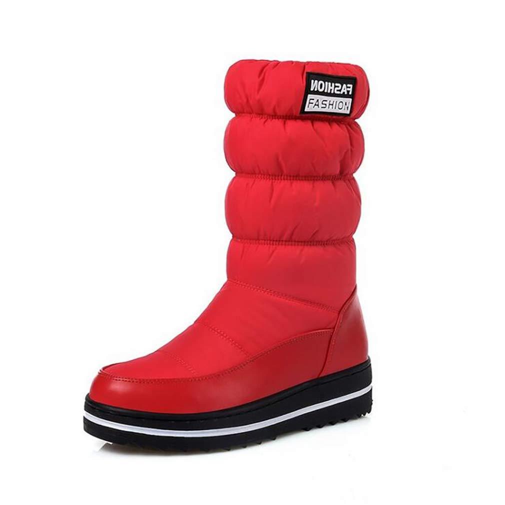 Hy Frauen Stiefel Künstliche PU Winter Schneeschuhe Stiefel/Damen Warm Winddicht Bis Stiefelies Flache Große Größe Skifahren Schuhe/Stiefelies / Stiefeletten Rot/Schwarz / Blau (Farbe : Rot, Größe : 37)