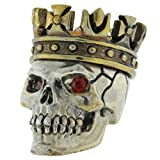 King with Red Rhinestone Eyes Paracord / Lanyard Bead in .925 Sterling Silver & Bronze by GD Skulls